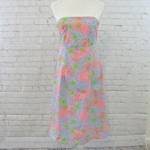 Lilly Pulitzer Strapless Elephant Print Dress